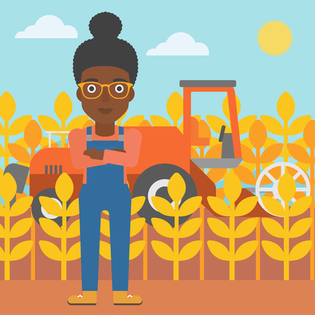 An african-american woman standing on the background of combine harvesting wheat vector flat design illustration. Square layout.
