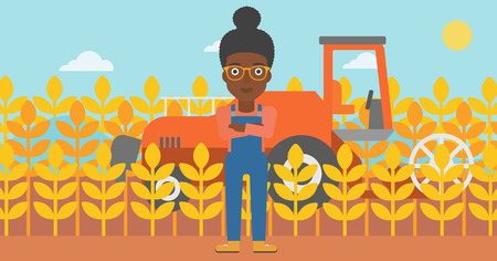 An african-american woman standing on the background of combine harvesting wheat vector flat design illustration. Horizontal layout.