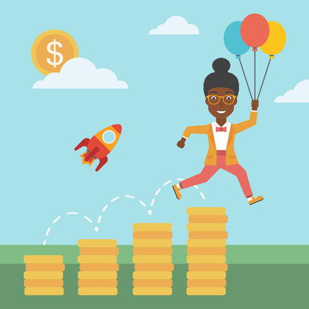 An african-american business woman with balloons flying over golden coins and a business start up rocket flying nearby. Business start up concept. Vector flat design illustration. Square layout. 向量圖像