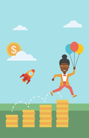 An african-american business woman with balloons flying over golden coins and a business start up rocket flying nearby. Business start up concept. Vector flat design illustration. Vertical layout. 向量圖像