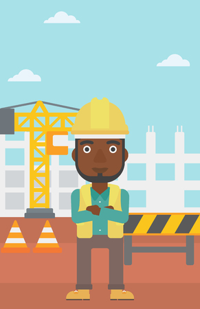 An african-american man standing with arms crossed on the background of construction site vector flat design illustration. Vertical layout.