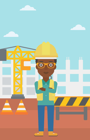 labourer: An african-american woman standing with arms crossed on the background of construction site vector flat design illustration. Vertical layout. Illustration