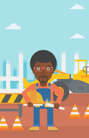 An african-american man holding a hard hat and a twisted blueprint in hands on a background of construction site with excavator and traffic cones vector flat design illustration. Vertical layout.