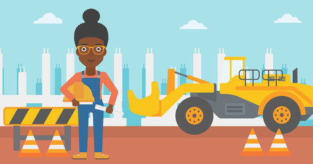 An african-american woman holding a hard hat and a twisted blueprint in hands on a background of construction site with excavator and traffic cones vector flat design illustration. Horizontal layout.