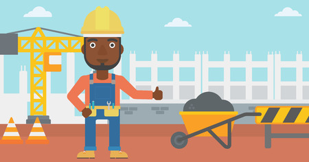 An african-american man in helmet showing thumbs up sign on a background of construction site with road barriers and wheelbarrow vector flat design illustration. Horizontal layout.