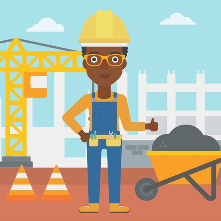 An african-american woman in helmet showing thumbs up sign on a background of construction site with road barriers and wheelbarrow vector flat design illustration. Square layout. Illustration