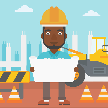 An african-american man considering a blueprint on a background of excavator on construction site vector flat design illustration. Square layout. Illustration