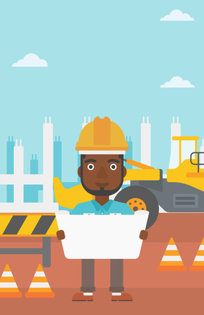 An african-american man considering a blueprint on a background of excavator on construction site vector flat design illustration. Vertical layout.