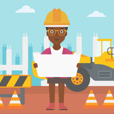 An african-american woman considering a blueprint on a background of excavator on construction site vector flat design illustration. Square layout. Illustration