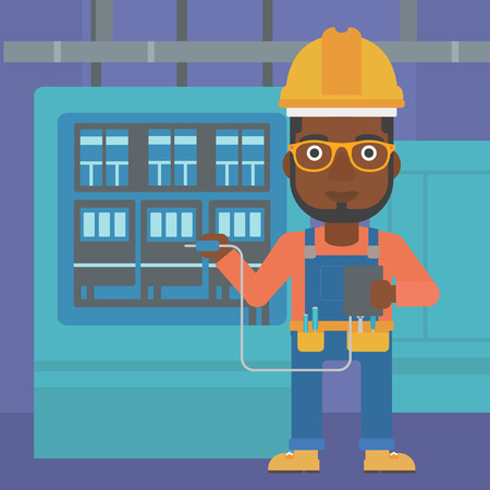 An african-american man in helmet measuring the voltage output vector flat design illustration. Square layout. Illustration
