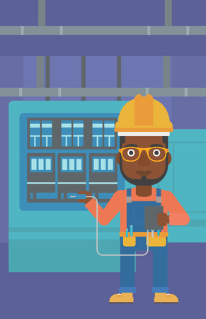 An african-american man in helmet measuring the voltage output vector flat design illustration. Vertical layout.