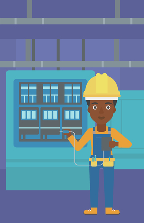 An african-american woman in helmet measuring the voltage output vector flat design illustration. Vertical layout. Illustration