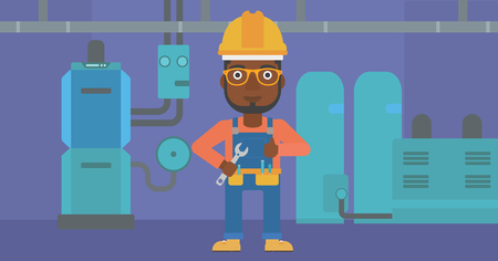 An african-american man with a spanner in hand showing thumb up sign on a background of domestic household boiler room with heating system and pipes vector flat design illustration. Horizontal layout.