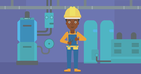 An african-american female repairer engineer with a spanner in hand showing thumb up sign on a background of domestic household boiler room with heating system and pipes vector flat design illustration. Horizontal layout.