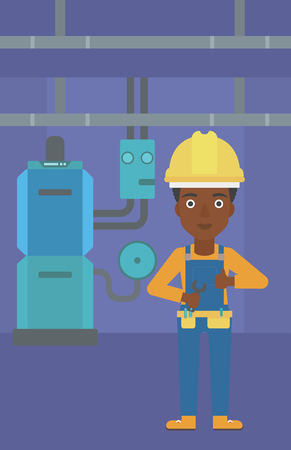 An african-american female repairer engineer with a spanner in hand showing thumb up sign on a background of domestic household boiler room with heating system and pipes vector flat design illustration. Vertical layout.