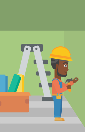 An african-american man hitting a nail in the wall with a hummer on a background of room with step-ladder vector flat design illustration. Vertical layout. Illustration