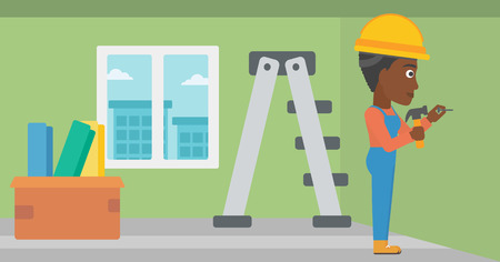 An african-american woman hitting a nail in the wall with a hummer on a background of room with step-ladder vector flat design illustration. Horizontal layout.