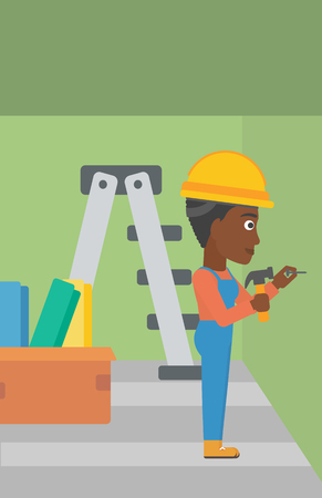 An african-american woman hitting a nail in the wall with a hummer on a background of room with step-ladder vector flat design illustration. Vertical layout. Ilustração