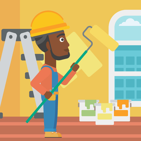An african-american man painting walls with a paint roller vector flat design illustration. Square layout. Illustration