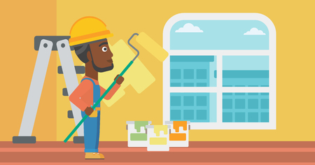 An african-american man painting walls with a paint roller vector flat design illustration. Horizontal layout. Illustration