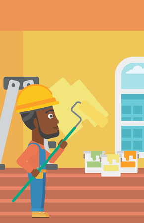 An african-american man painting walls with a paint roller vector flat design illustration. Vertical layout. Illustration