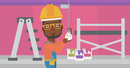 install: An african-american man twisting a light bulb on a background of room with paint cans and ladder vector flat design illustration isolated on white background. Horizontal layout. Illustration
