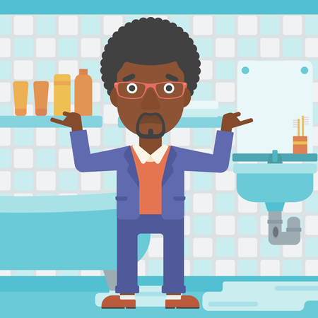An african-american man in despair standing near leaking sink in the bathroom vector flat design illustration. Square layout.