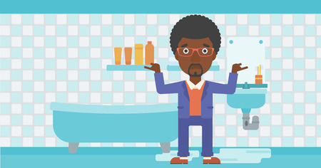 An african-american man in despair standing near leaking sink in the bathroom vector flat design illustration. Horizontal layout.