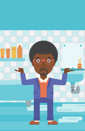 An african-american man in despair standing near leaking sink in the bathroom vector flat design illustration. Vertical layout.