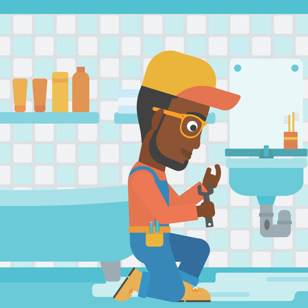 An african-american man sitting in a bathroom and repairing a sink with a spanner vector flat design illustration. Square layout. Illustration