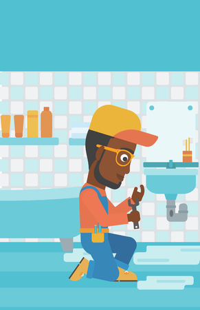 An african-american man sitting in a bathroom and repairing a sink with a spanner vector flat design illustration. Vertical layout.