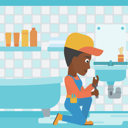 An african-american woman sitting in a bathroom and repairing a sink with a spanner vector flat design illustration. Square layout. Illustration