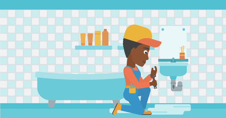 An african-american woman sitting in a bathroom and repairing a sink with a spanner vector flat design illustration. Horizontal layout. 向量圖像