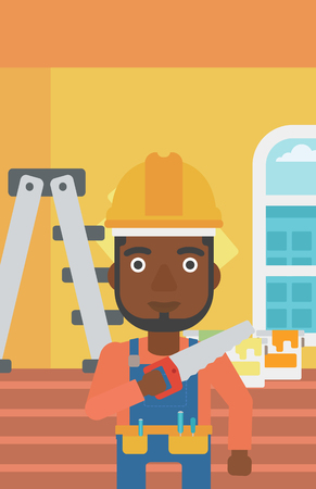 An african-american man  holding a saw in hand on a background of of room with paint cans and ladder vector flat design illustration. Vertical layout. Illustration