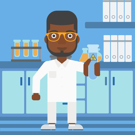An african-american laboratory assistant holding a test tube with biohazard sign on a laboratory background vector flat design illustration. Square layout.