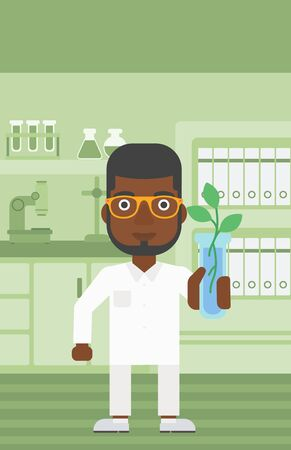 An african-american laboratory assistant holding a test tube with growing plant on a laboratory background vector flat design illustration. Vertical layout. Illustration