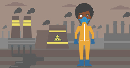 An african-american woman wearing a protective chemical suit for toxic atmosphere on background of nuclear power plant vector flat design illustration. Horizontal layout.