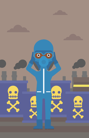 An african-american woman in protective chemical suit clutching his head on the background of radioactive barrel vector flat design illustration. Vertical layout. Ilustrace