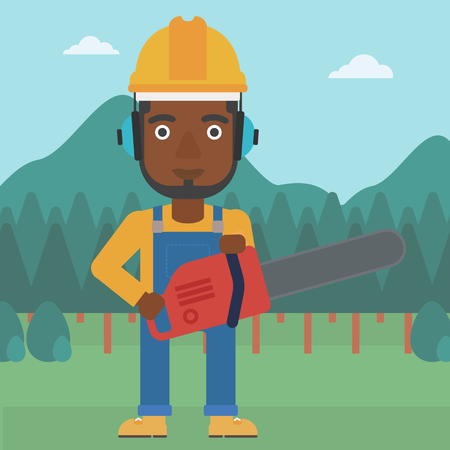 An african-american man holding a chainsaw on a forest background vector flat design illustration. Square layout.