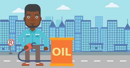 An african-american man standing beside the oil can and holding filling nozzle on a city background vector flat design illustration. Horizontal layout.