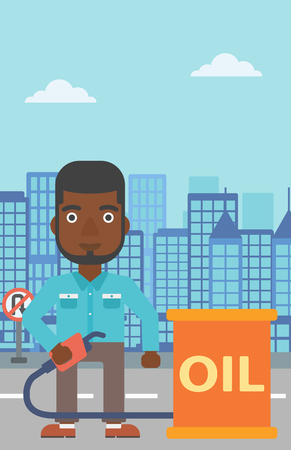 An african-american man standing beside the oil can and holding filling nozzle on a city background vector flat design illustration. Vertical layout.