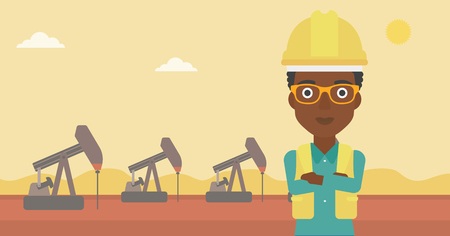 An african-american woman in helmet standing with crossed arms on an oil derrick background vector flat design illustration. Horizontal layout. Illustration