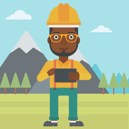 An african-american man in hardhat holding a tablet computer in hands on the background of mountain landscape vector flat design illustration. Square layout.