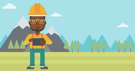 An african-american man in hardhat holding a tablet computer in hands on the background of mountain landscape vector flat design illustration. Horizontal layout.