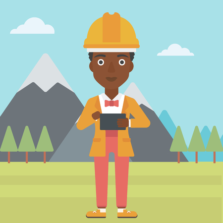 An african-american woman in hardhat holding a tablet computer in hands on the background of mountain landscape vector flat design illustration. Square layout. Illustration
