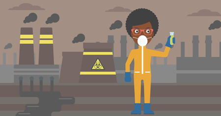 An african-american laboratory assistant in protective chemical suit holding a test-tube in hand on background of nuclear power plant vector flat design illustration. Horizontal layout.