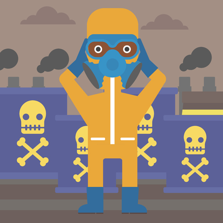 dangerous man: An african-american man in protective chemical suit clutching his head on the background of radioactive barrel vector flat design illustration. Square layout.