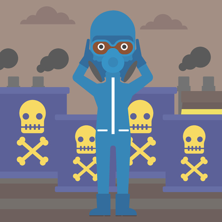 An african-american woman in protective chemical suit clutching his head on the background of radioactive barrel vector flat design illustration. Square layout. Illustration