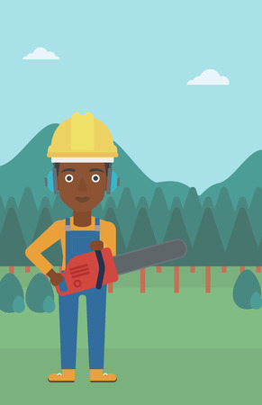 An african-american lumberjack holding a chainsaw on a forest background vector flat design illustration. Vertical layout.