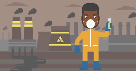 An african-american man in protective chemical suit holding a test-tube in hand on background of nuclear power plant vector flat design illustration. Horizontal layout.